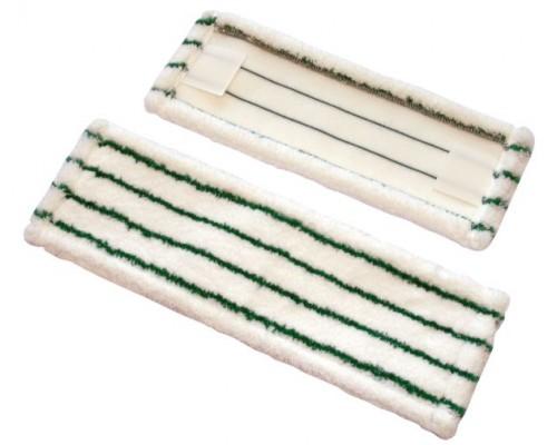 Euromop Плоский МОП 40 белая микрофибра с зелёными абразивными вставками
